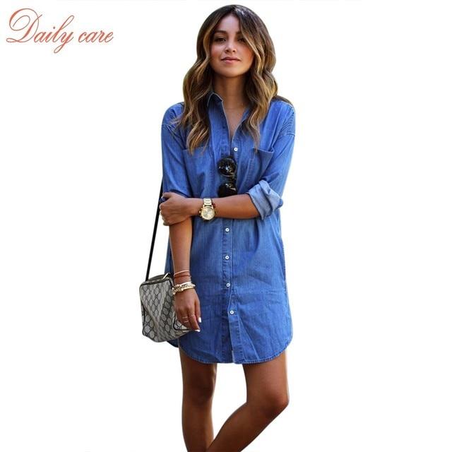 a3ae621887 Autumn Spring Women Vestidos Long Sleeve Lapel Denim Dresses 2016 Sexy  Ladies Solid Jeans Shirt Dress Casual Hot 31