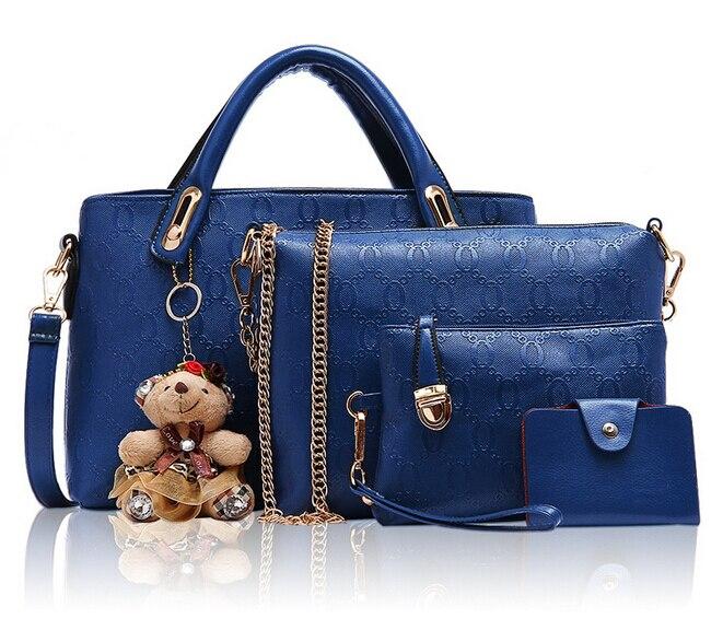 4Pcs\Set Women Bag Women Messenger Bags Handbags PU Leather Purse Satchel Messenger Travel Bags