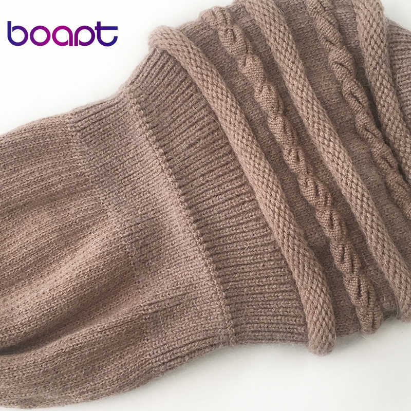 [Boapt] Hangat Musim Dingin Topi untuk Wanita Cap Skullies Beanies Wanita Topi Double Layer Kelinci Lembut Rajutan tebal Ibu Bonnet Topi