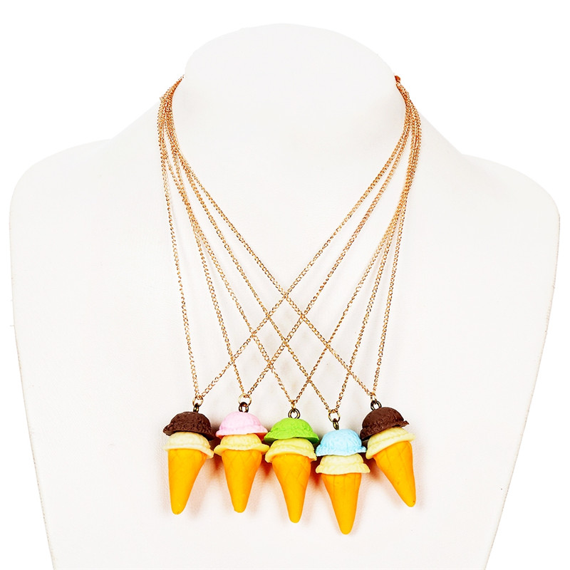 2 Pcs Random Colors Cute Ice Cream Pendant Necklace For Kids Best Childrens Gifts Fashion Jewelry Accessory