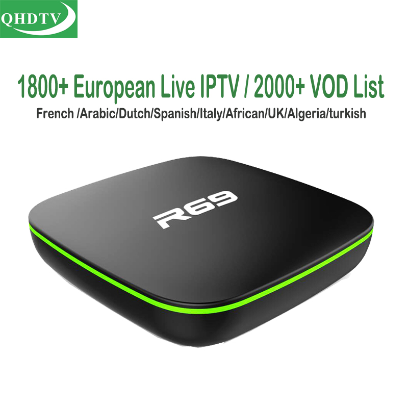 R69 Cheap Qhdtv French IPTV Box Android Arabic Netherlands Portuguese TV Subscription UK Turkey Spain Channels