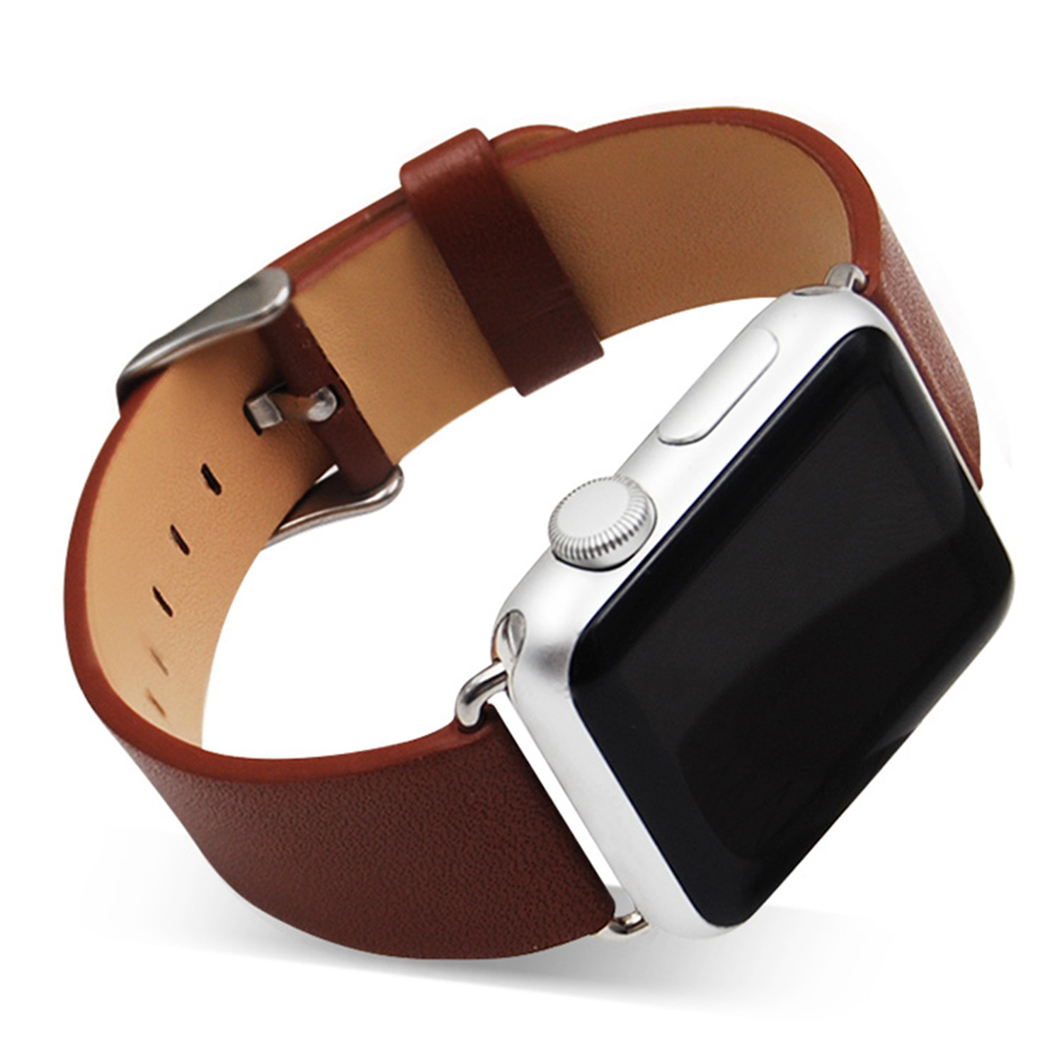 CRESTED genuine leather watchband starp for apple watch band 42 mm/38 Wrist Strap Bracelets & Stainless Steel Buckle for iwatch watch band 20mm 21mm 22mm brown genuine leather strap deployment steel watch buckle wrist watch band watch strap bracelets