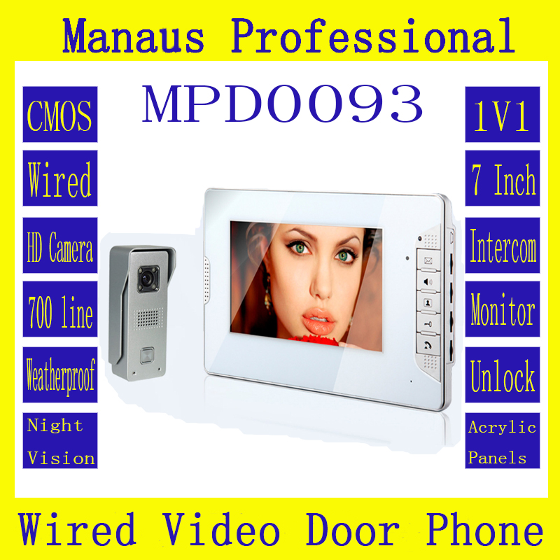 High Quality Smart Home 7 inch Screen Display Video Intercom Phone,Wired Magnetic Lock One to One Video door phone D93b