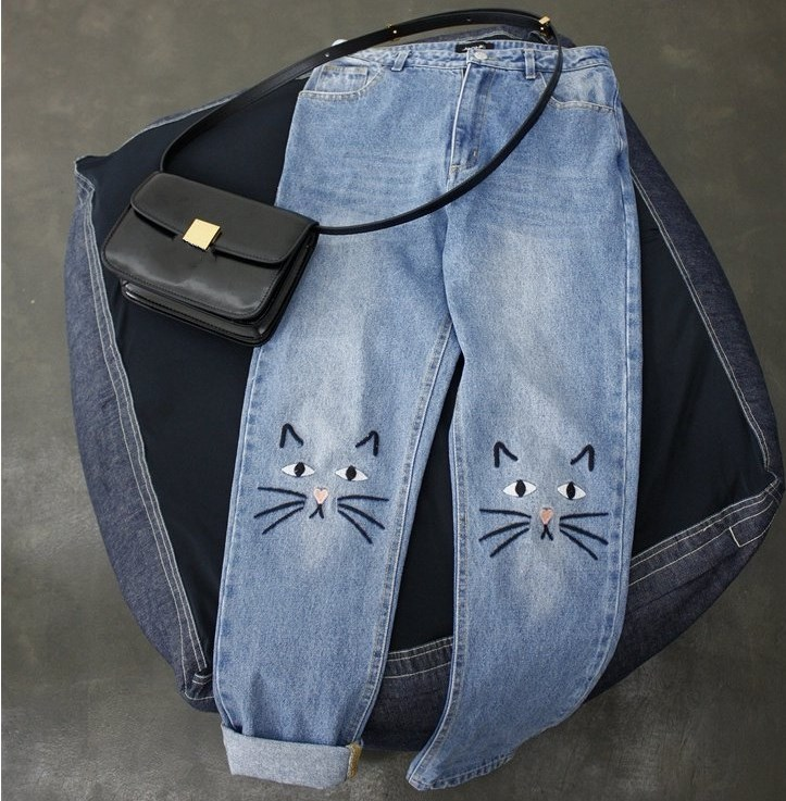 Women Oversized Cute Cat Embroidery Jeans Casual Long Denim Jeans High Waist Loose Pants Boyfriend Jeans Pantalon