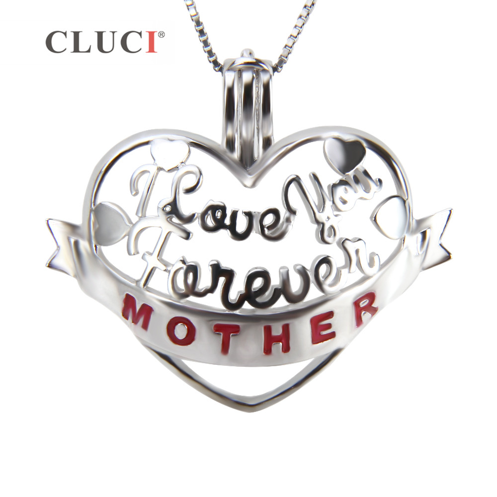 CLUCI 925 Sterling Silver Charm Pendant Necklace Gift for Best Mother Heart Shaped Women Cage Pendant for Pearl Necklace Jewelry