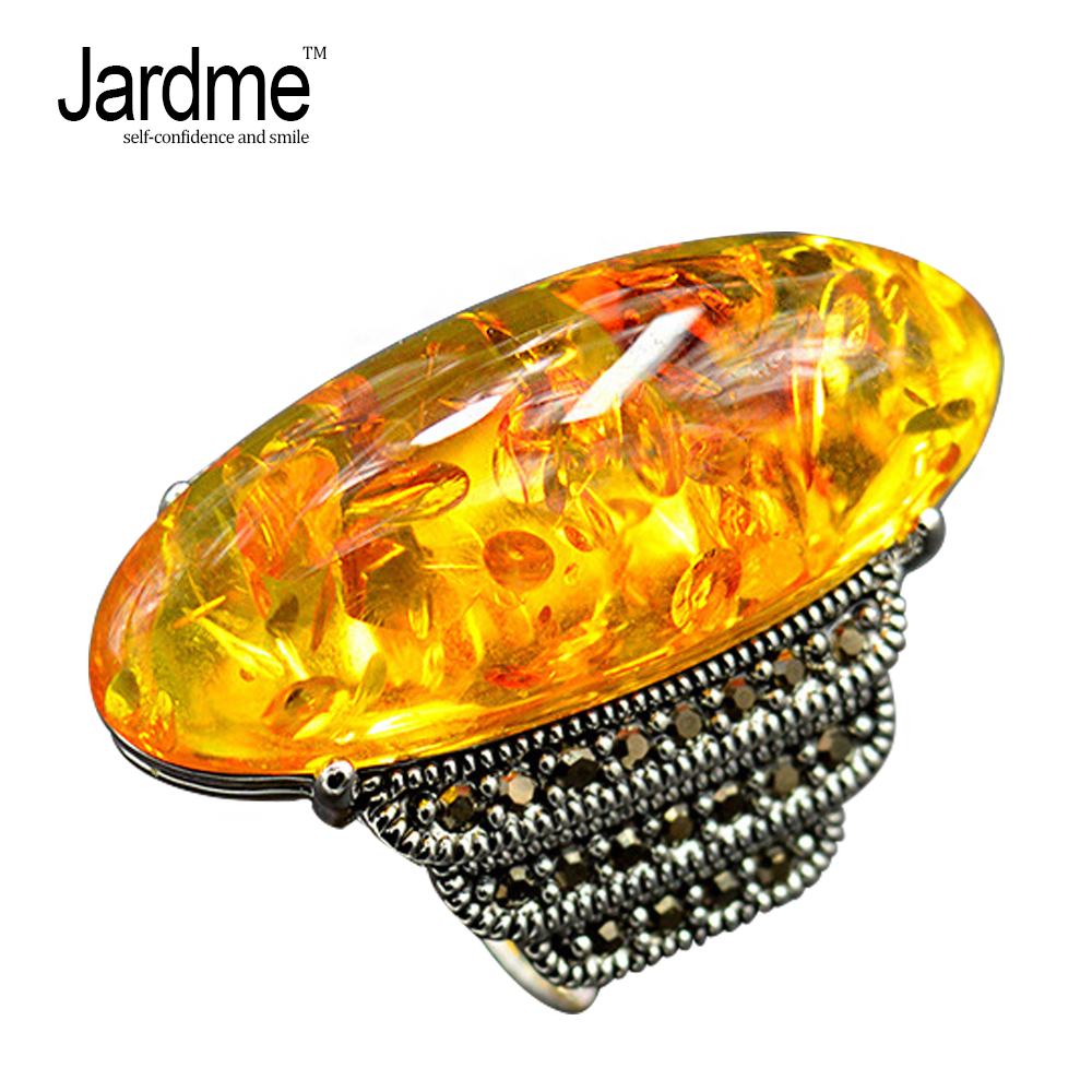 Jardme Vintage Big Yellow Crystal Exclusive Design Rings for Women and Mens Rings Luxury Wedding Engagement Gift Fashion Jewelry