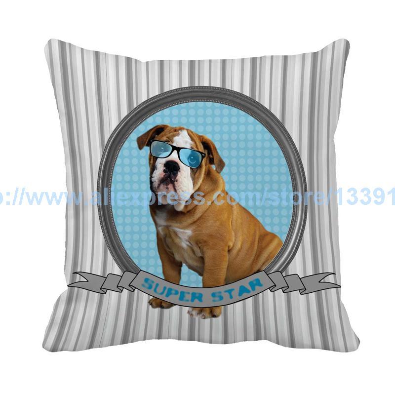 Super Star Striped Cushion For Sofa Chair Bulldog Shepherd Dog Print Customization Throw pillow Decorative pillows Coussin Cojin
