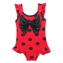 Girls Bathing Suit Kids Swimwear Girls Swimsuit Ladybug Magic Miraculous Ladybug Pattern Swimsuit with Bowtie 3 4 5 9 Years Old