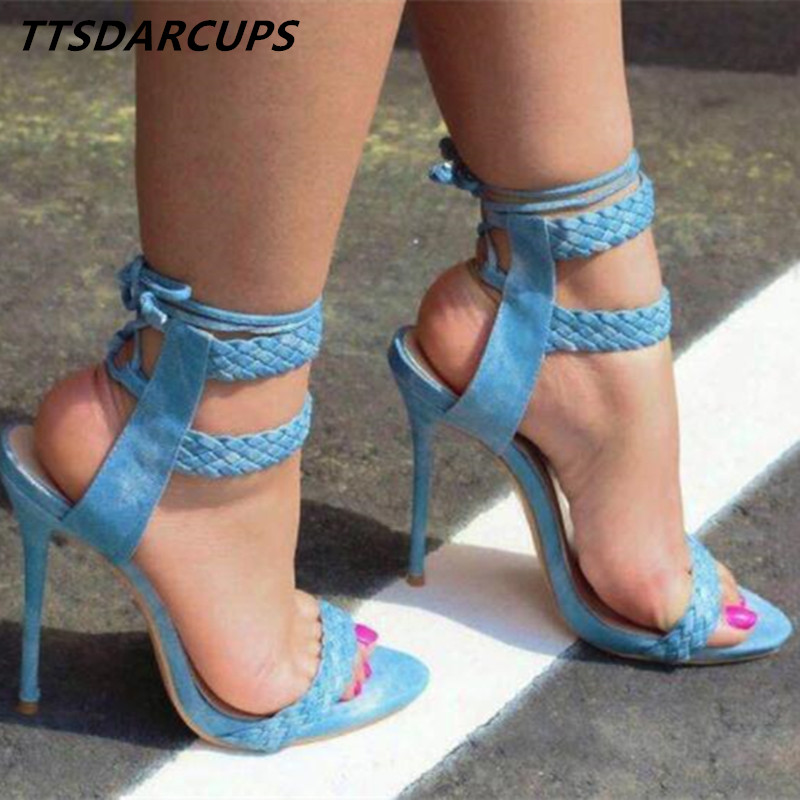 New Italy Weave high heel sexy sandals Cross straps nightclub high-heeled shoes Wedding shoes Big code 35-40 Women's Shoes big italy