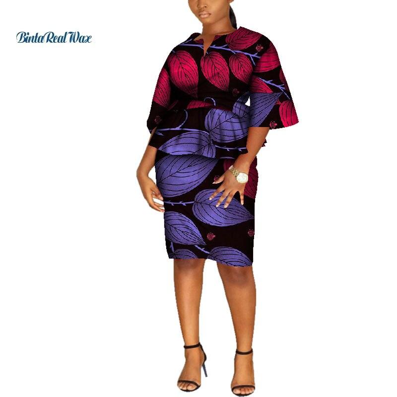 Nouveauté haut et jupe droite ensembles africain cire imprimer 2 pièces jupe ensemble pour les femmes Bazin Riche Style africain vêtements WY4551