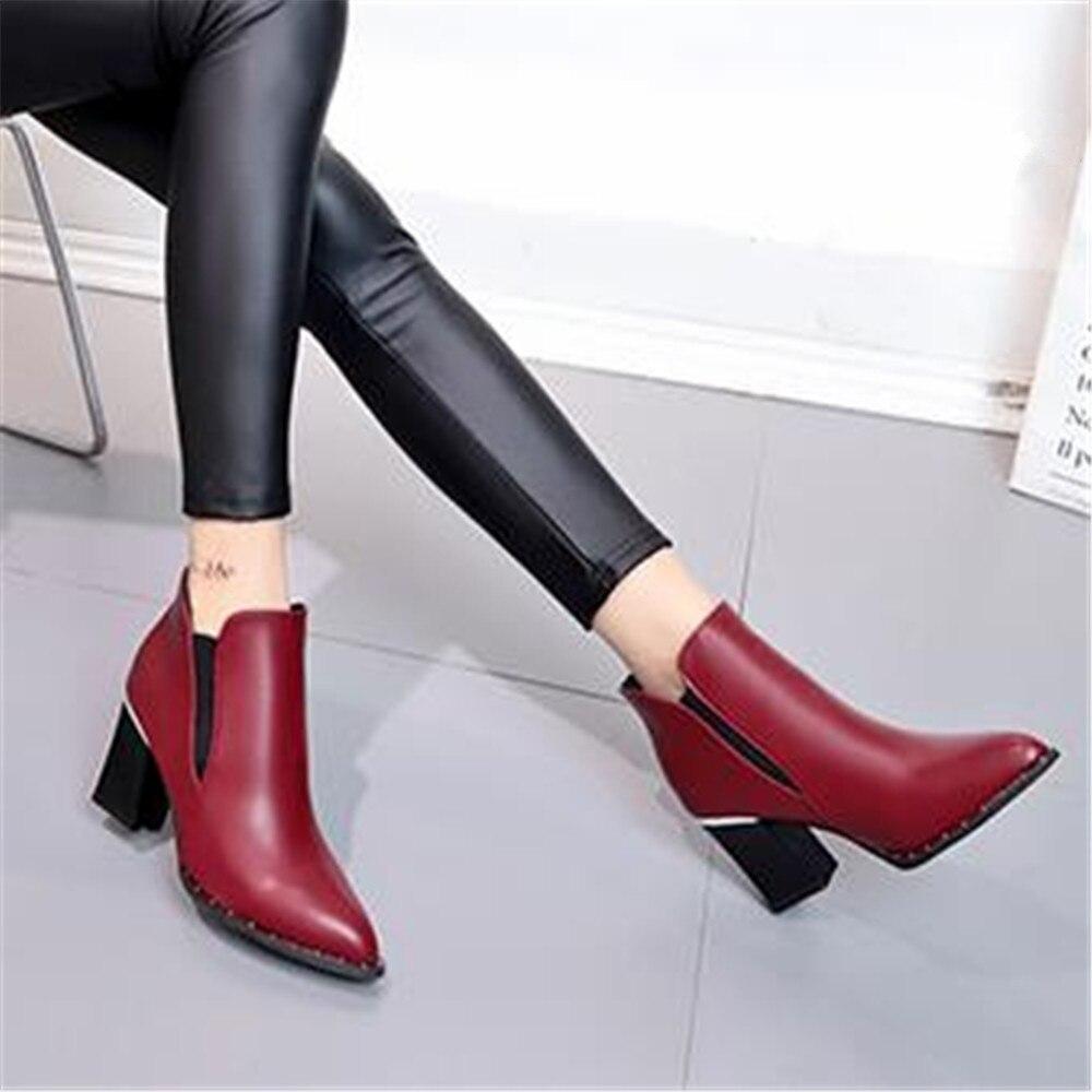 2018 Remache rojo Estilo plata Zapatos Contratado Martin Alto Otoño Chica Botas Mujer De Negro Invierno Marea Nuevos Tacón Europeo Británico qrqUwWR7Bx