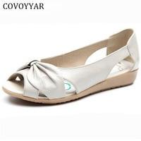 Elegant Flat Shoes Woman 2016 Spring Summer Bow Peep Toe Breathable Women Shoes Soft Sandals Slip