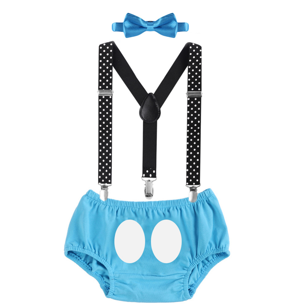 Baby Boys Cake Smash Outfit 1st Birthday Suspender Pants Bowtie Photo Costume