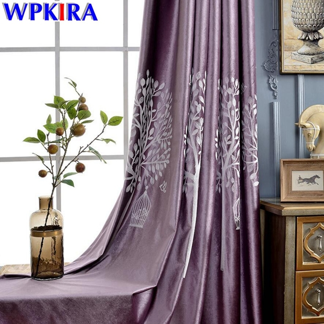 Purple Velvet Thick Curtain Blackout Curtains Living Room Tree Patterned  Sheer Tulle Fancy Green Window Treatment