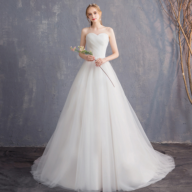 Fairy Strapless Tulle Lace Up Vestidos De Novia 2018 Off The Shoulder Pleats  A-line Boho Wedding Dresses Simple Bridal Gowns 5e87592b1e34
