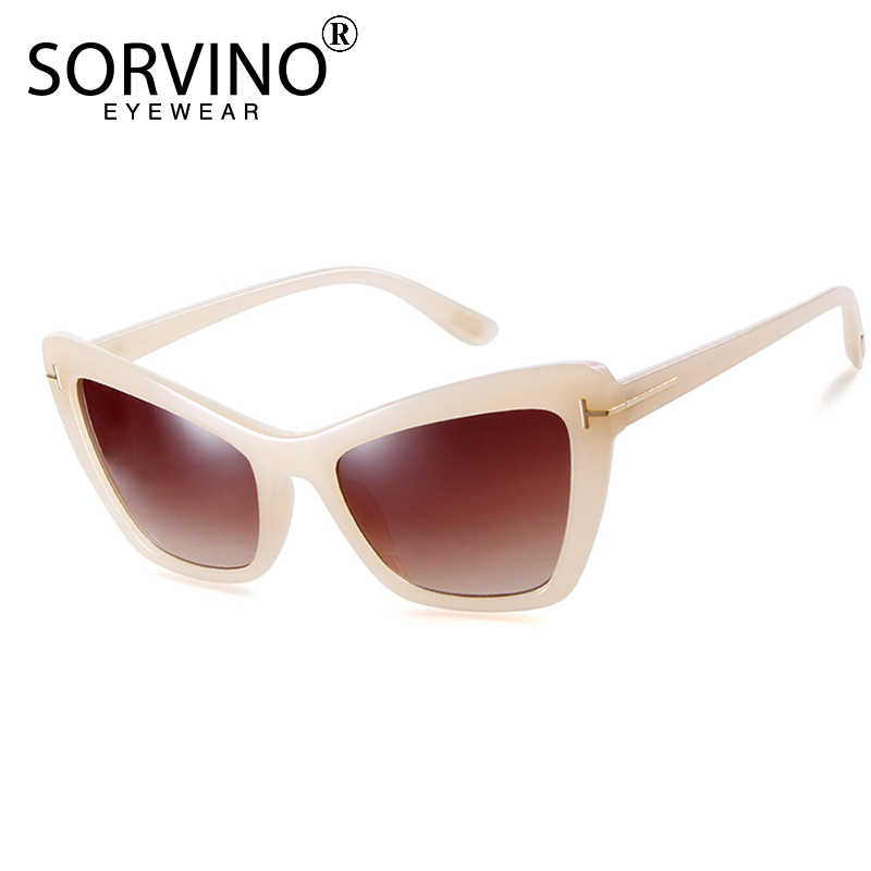5ec1dacf94d02 SORVINO 2018 Retro Ladies Rectangular Cat Eye Sunglasses Women Brand  Designer Tint Beige Cateye Sun Glasses