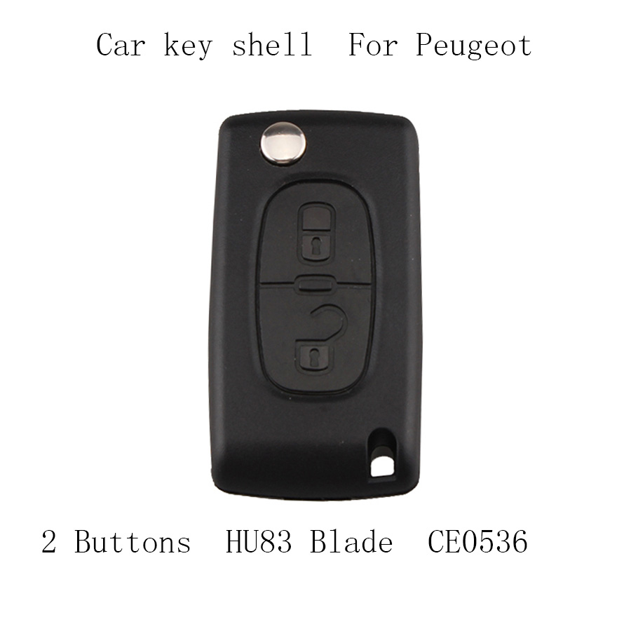 2Buttons Folding <font><b>Remote</b></font> <font><b>Key</b></font> Case Cover For <font><b>Peugeot</b></font> 107 <font><b>207</b></font> 307 307S 308 407 607 With Groove With <font><b>Battery</b></font> Place CE0536 image