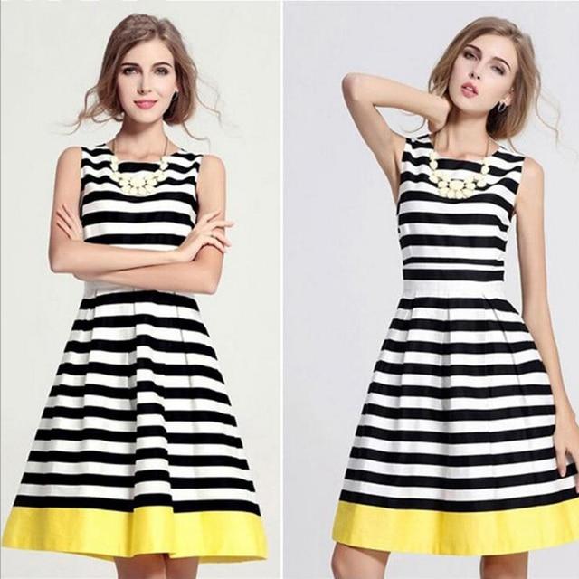 ccf18ed81e Mujeres pin up de la vendimia vestido estampado de Rayas Fajas cinturón  vestidos de Amarillo Negro