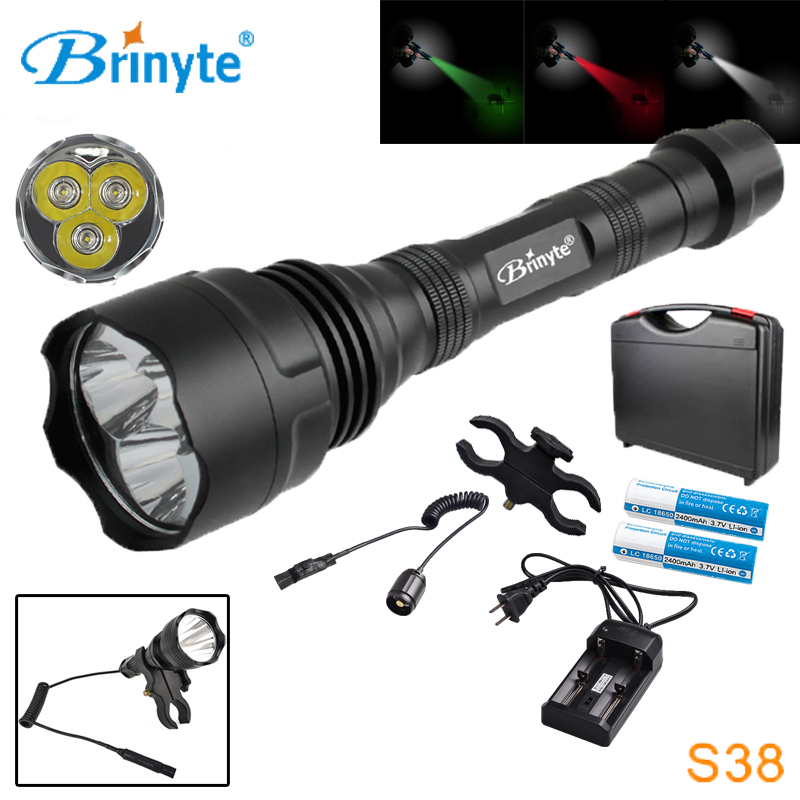 Free Shipping Brinyte S38 High Power 3 CREE XR-E Q5 LED Search Rescue Flashlight with 18650 Battery Charger Mount Remote Switch q5 240lumens 3modes outdoor bicycle led flashlight mount for 18650 aaa