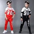 Sistema de la Ropa de Otoño 2016 Nuevos Niños Niñas adolescente Ropa Deportiva de Manga Larga traje de Top & Pants 2 unids Negro Rojo Azul