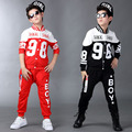 Teenage boy's Clothing Set Autumn New 2016 Kids Girls Clothes Sports Suit Long Sleeve Top & Pants 2 pcs Black Red Blue