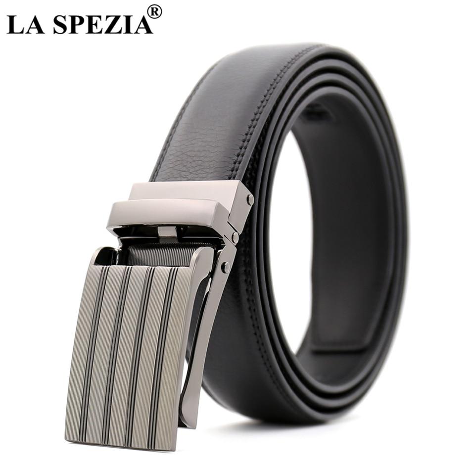 New LA SPEZIA Automatic Buckle Leather Belt Men Casual Business Belt For Trousers Black Real Leather Cowhide Luxury Belt Male 130cm