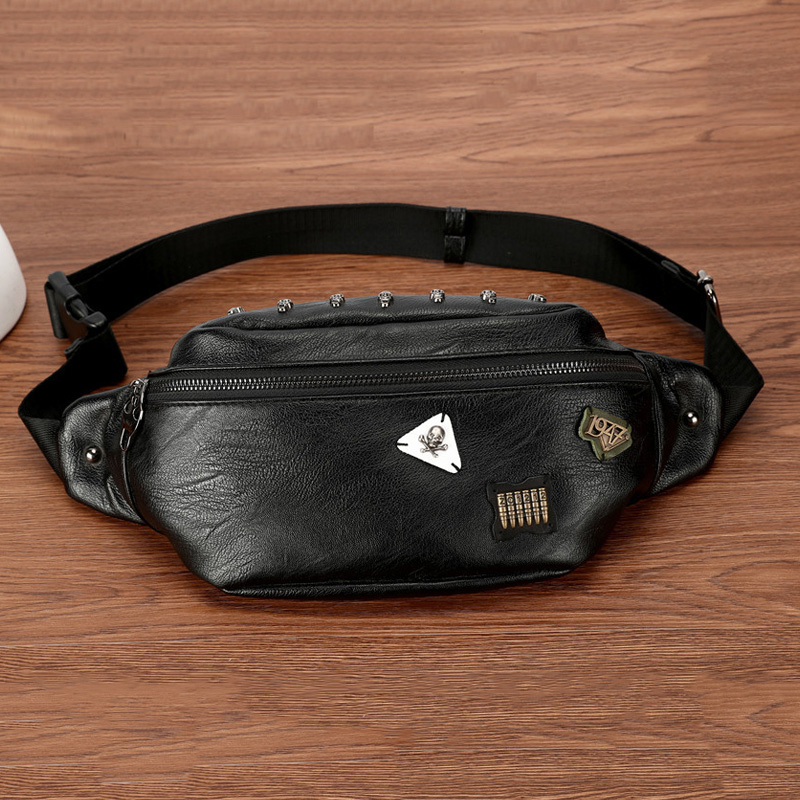 Casual Waist Bags For Men Personality Moto & Bike Punk Chest Bag Male Waterpoor PU Leather Waist Pack Trend Hip-hop Shoulder Bag