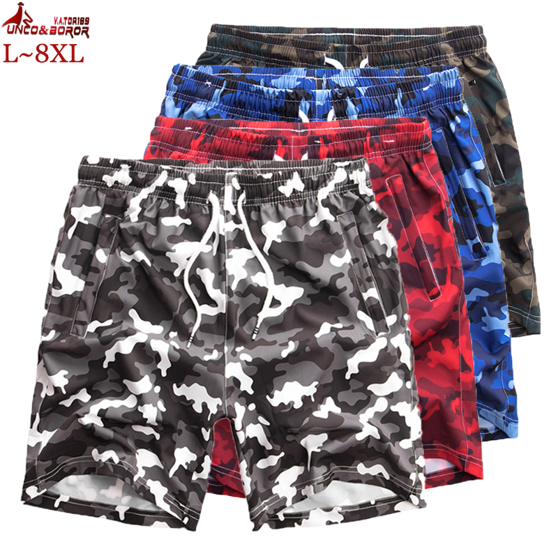 Plus Size L~7XL 8XL Men's Summer Drawstring Jogger Sporting Shorts Casual Beach Camouflage Gym Bodybuilding Workout Men Shorts