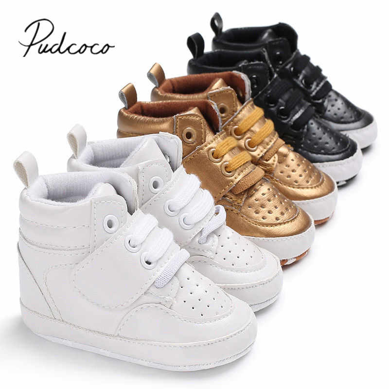 2018 Brand New Newborn Baby Boy Girl Soft Sole Crib Shoes Warm Boots Anti-slip Sneaker PU Breathable Solid First Walkers 0-18M
