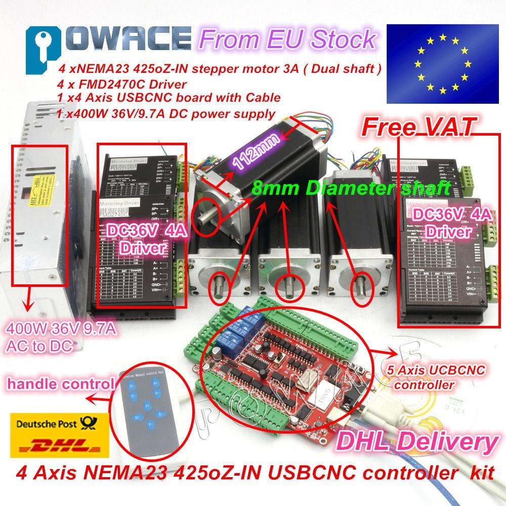 цена на 4 Aixs Stepper Motor Controller kit USBCNC driver board Nema23 425oz-in,112mm,3A (Dual Shaft ) Engraving machine