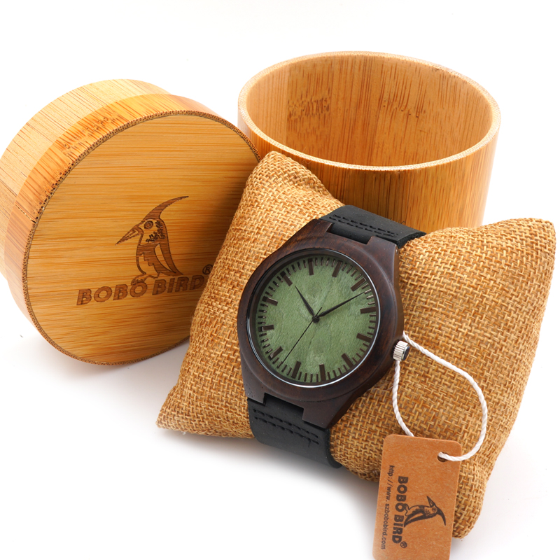 BOBO BIRD Mens Green Wood Face Wooden Bamboo Watches Luxury Wooden Bamboo Watches With Leather Quartz Watch With Bamboo Box 2017