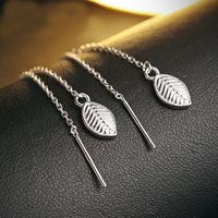 Modian Fashion 2017 Solid Leaves 925 Sterling Silver Crystal Drop Earrings Classic Jewelry Tree Brand For