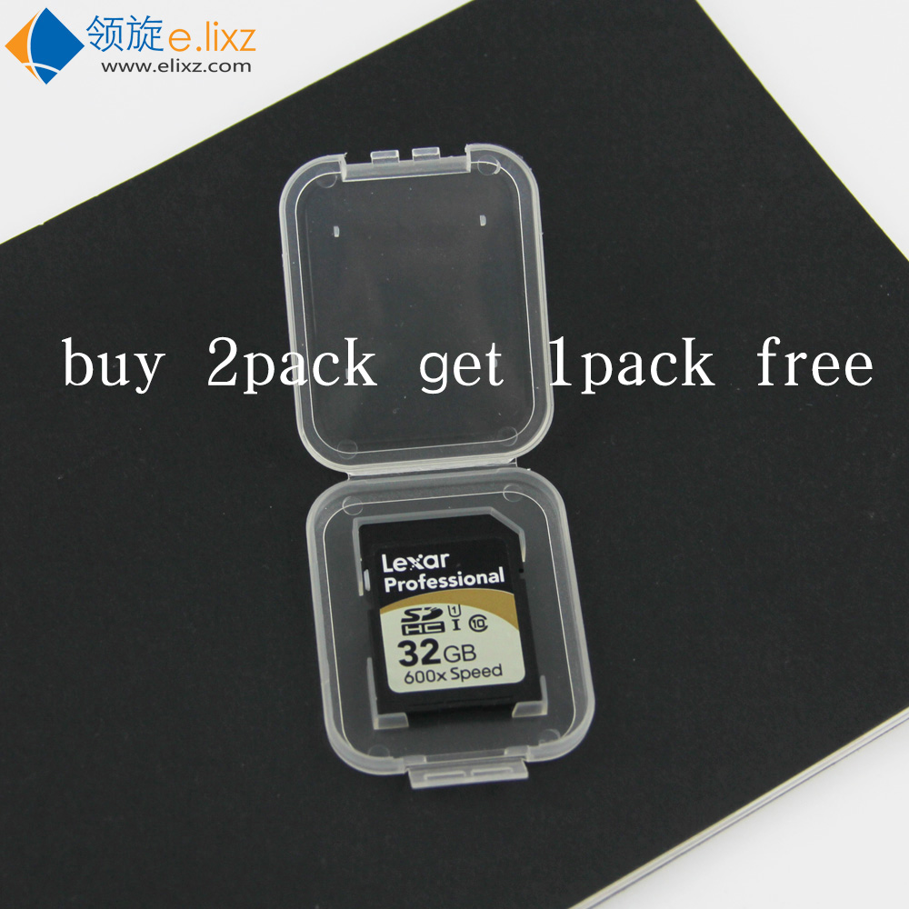 Buy 2 Pack Get 1 Pack Free 10 Pcs SD SDHC Memory Card Case Holder Protector Transparent Plastic Box Storage Case
