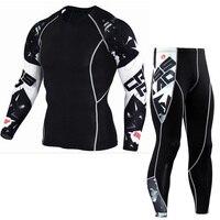 Mens Compression Sets Pants And T Shirts Wolf Print Lycra Crossfit T Shirt Joggers Base Layer