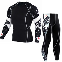 Mens Compression Sets Pants And T Shirts Wolf Print Lycra Crossfit T Shirt Joggers Base Layer