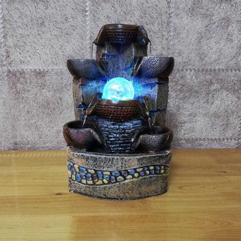 Desktop Chinese Fengshui Water Fountain Indoor Air Humidity Ornament Artificial Craft No 2323 Home Club Office