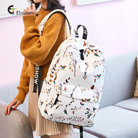 Pupils Schoolbag Female 4 6 Korean Campus College Style Leisure Travel Backpack Retro Bird Print