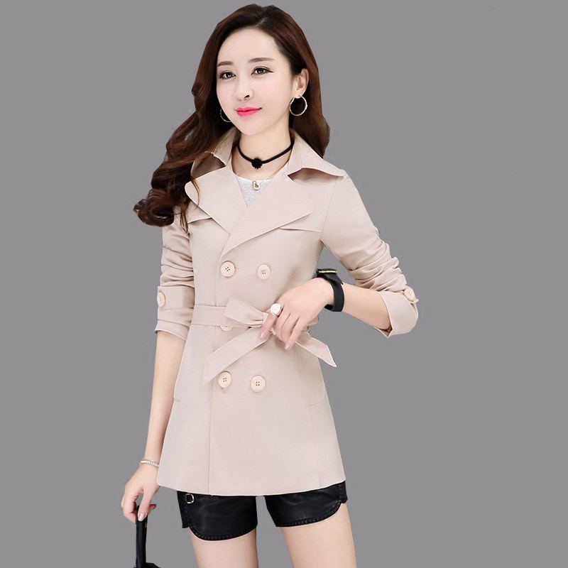 Spring Autumn Women   Trench   Coat 2019 New Fashion Solid Color Belt Windbreaker Female Long Sleeve Outerwear High Quality N640