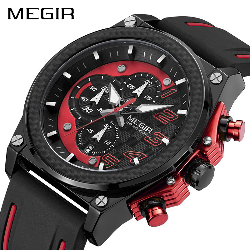 MEGIR Sport Men Watch Top Brand Luxury Quartz Wristwatch Silicone Army Military Watches Clock Men Chronograph Relogio Masculino reef tiger brand men s luxury swiss sport watches silicone quartz super grand chronograph super bright watch relogio masculino