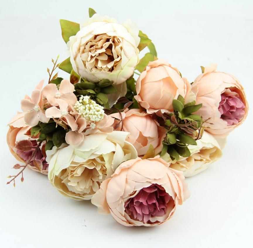 Wholesale 2 pclot hight quality silk flower 1 bouquet artificial wholesale 2 pclot hight quality silk flower 1 bouquet artificial flowers fall vivid peony fake leaf wedding home decoration in artificial dried flowers mightylinksfo Gallery