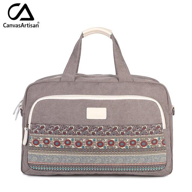 Canvasartisan brand new womens bloemen stijl hangbags grote capaciteit handbagage vrouwelijke multifunctionele reizen schouder draagtas