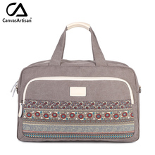 Canvasartisan brand new womens floral style hangbags big capacity hand luggage female multifunctional travel shoulder tote bag
