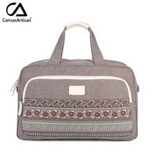 מותג חדש נשים פרחוני סגנון Canvasartisan מטען יד קיבולת הגדול hangbags כתף tote תיק נסיעות רב תכליתיים נשי