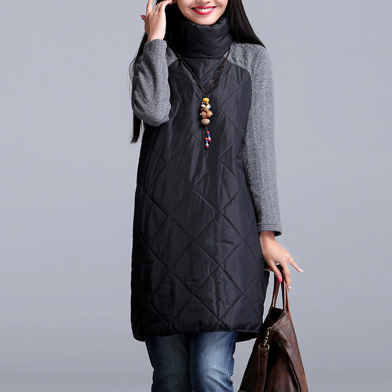 2019 Autumn Winter women   parkas   ,urtleneck Female Vestidos Tunic Autumn coat,plus size Women   Parkas   M-5XL 6XL 7XL black gray red