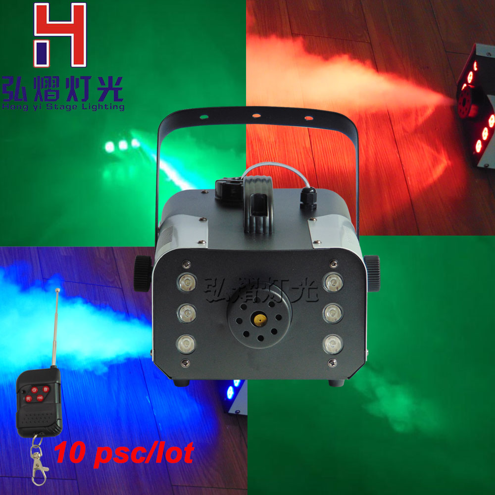 10lots mini 900W RGB remote control fog machine pump dj disco smoke machine for party wedding Christmas stage fogger machine niugul best quality 900w fog machine 900w smoke machine stage special disco effects dj equipment fogger for ktv xmas home party