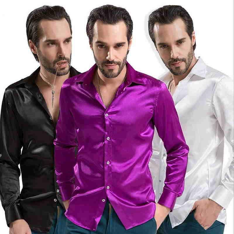 New 2019 Leisure Brand Clothing High-grade Emulation Silk Long Sleeve Shirts Men's Casual Shirt Shiny Satin Camisa White Black