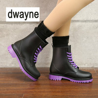 2019 Rain Boots Waterproof Shoes Woman Water Rubber Lace Up Martin Boots Sewing Solid Flat with Shoes Boots Women