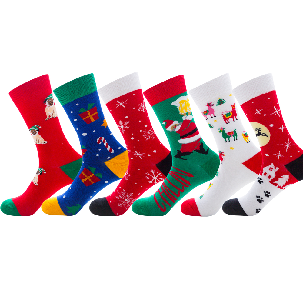 New Funny Color Christmas Cotton Men/Women Socks of Pattern Man Holiday