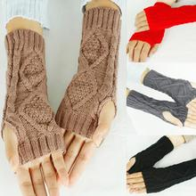 TFGS 2016 Fashion Womens Winter Warm Knitted Half Fingers Hemp Flowers Fingerless Long Gloves Mittens For Women arm heaters