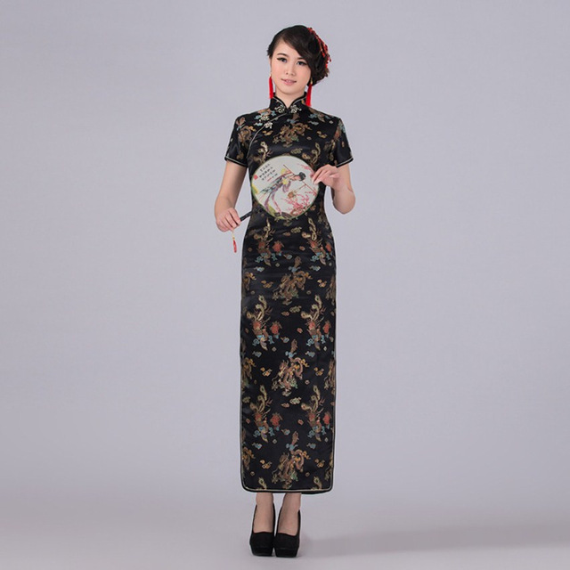 6d1fb5a995f Black Chinese Traditional Dress Women Satin Qipao Dragon Phenix Long  Cheongsam Plus Size S M L XL XXL XXXL 4XL 5XL 6XL LF-01